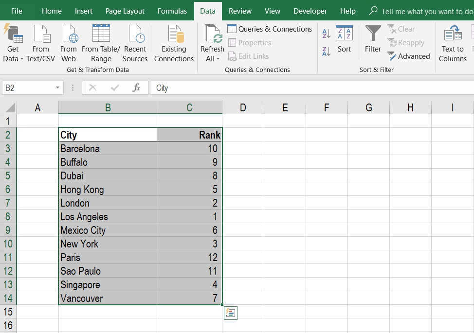 Alphabetize in Excel - Sort Step 3