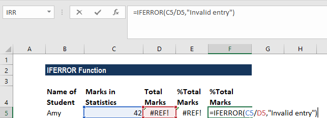 IFERROR Function - Example 1a