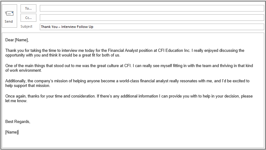 thank you after interview email example template what to say