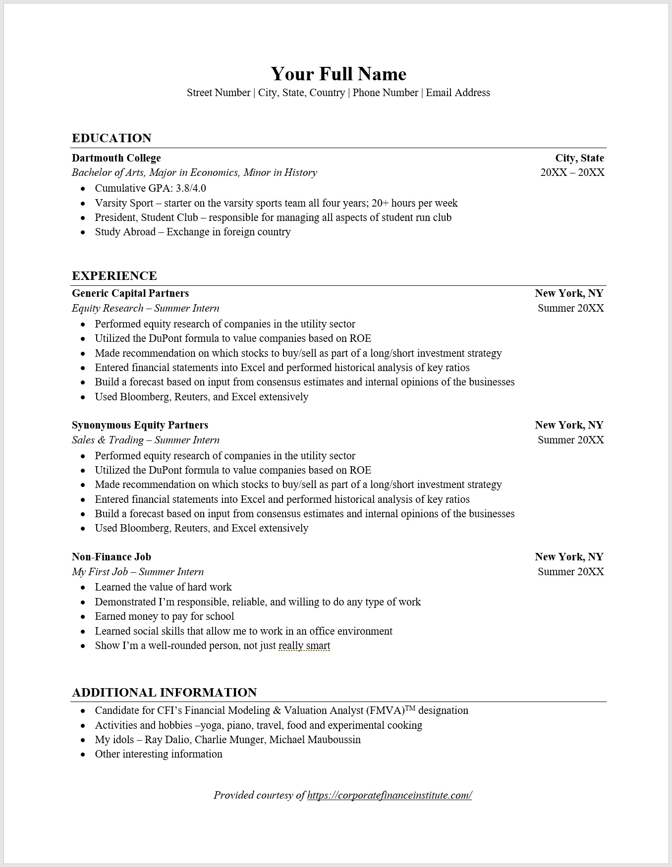Investment Banking Resume Template  What You Must Include