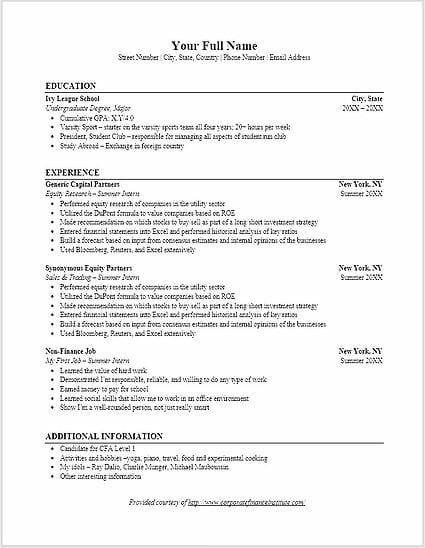 investment banking resume template - Additional Information On Resume