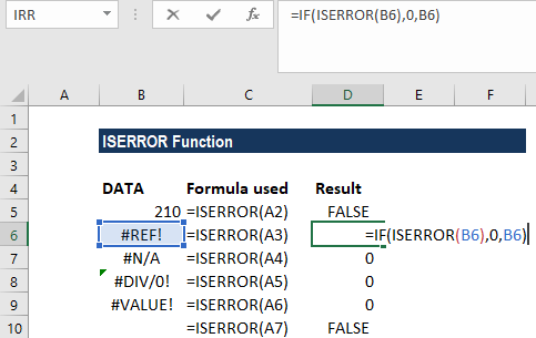 ISERROR Excel Function - Example 2a