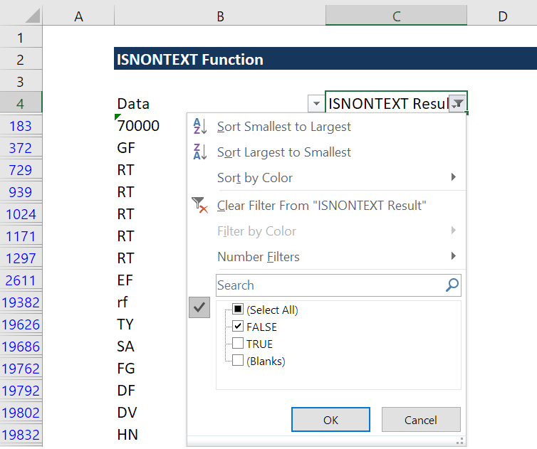 ISNONTEXT Function - anything typed into a cell