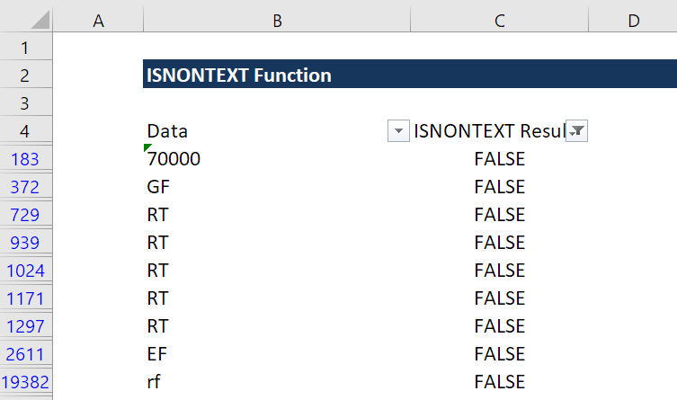 ISNONTEXT Function