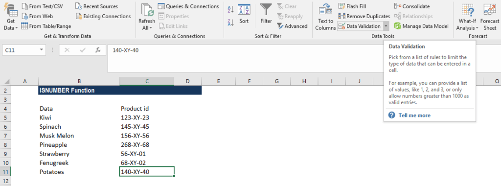 Excel ISNUMBER Function - Example 1