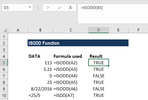 ISODD Function - Example 1