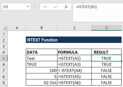 ISTEXT Function - Example 1