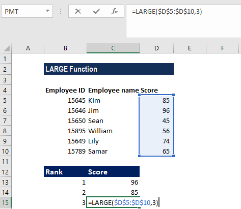 LARGE Function - Example 1b