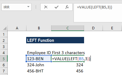 LEFT Function - Example 2a