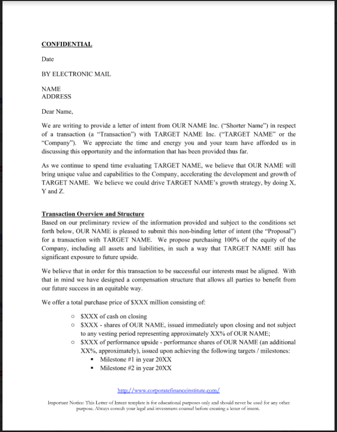 Letter Of Intent (LOI) Example And Template. U003eu003e  Example Letter