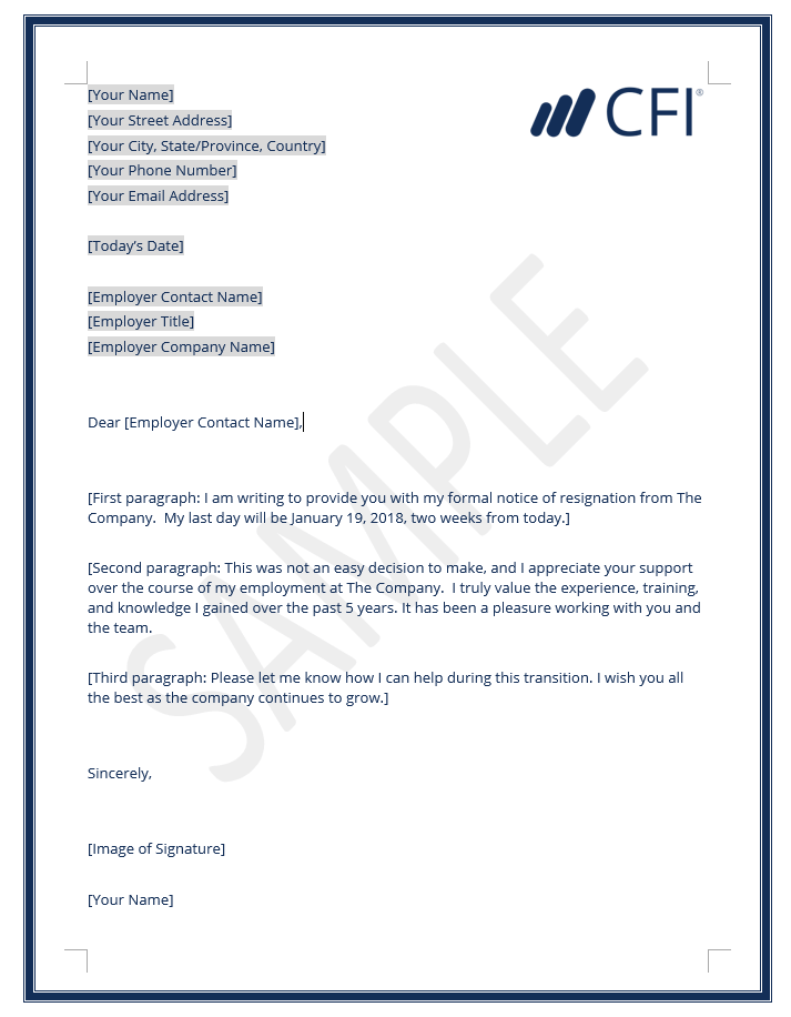 Lovely Resignation Letter Template