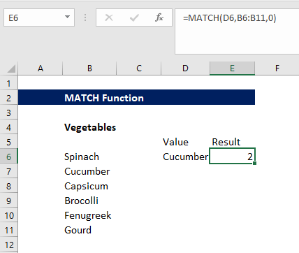 MATCH Function - Example 1a