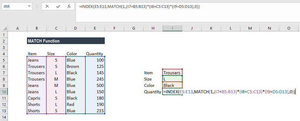 MATCH Function - Example 2a