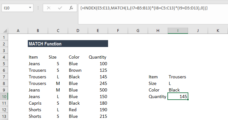 MATCH Function - Example 2b