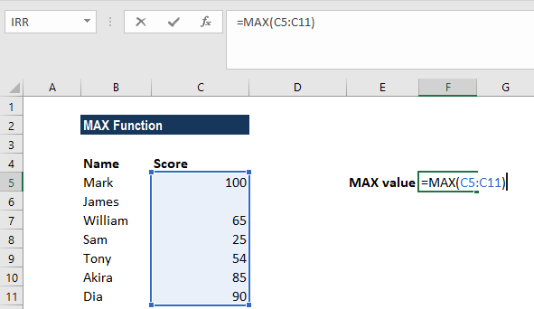 MAX Function - Example 1