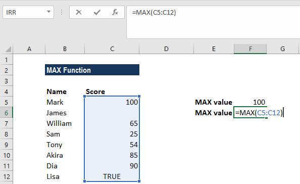 MAX Function - Example 1b