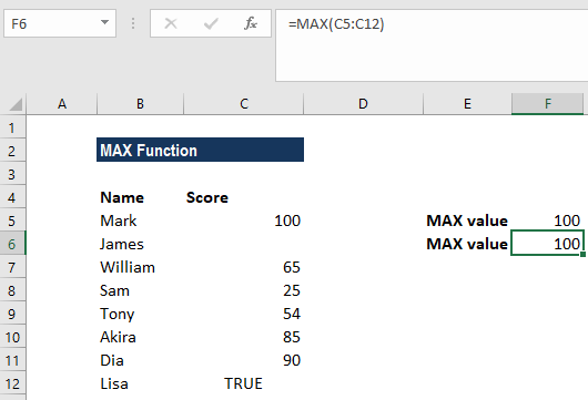 MAX Function - Example 1c