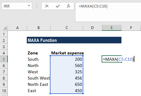 MAXA Function - Example 1