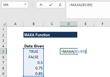 MAXA Function - Example 2a