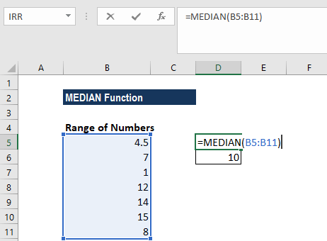 MEDIAN Function - Example 1