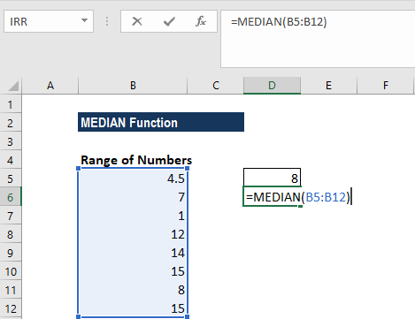 MEDIAN Function - Example 1b