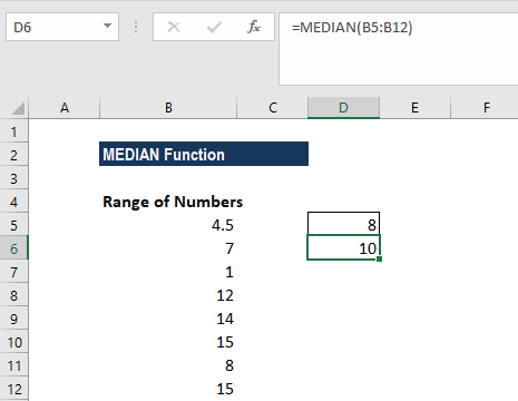 MEDIAN Function - Example 1c