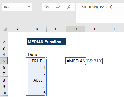 MEDIAN Function - Example 2a