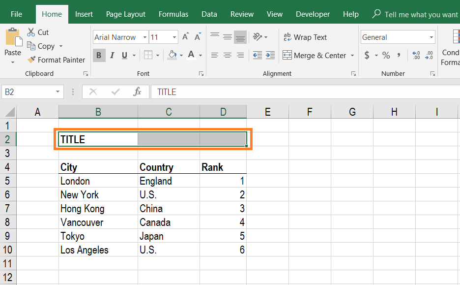 Merge Cells in Excel - Step 1