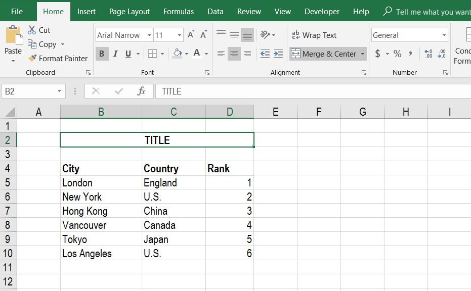 Merge Cells in Excel - Step 3