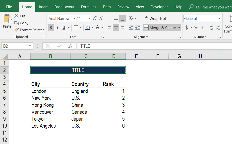 Merge Cells in Excel - Step 4