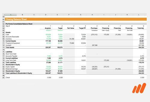 Mergers and Acquisition Financial Model in Excel