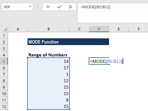 MODE Function - Example 1