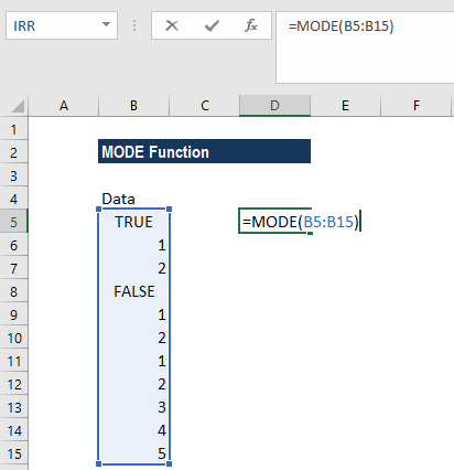 MODE Function - Example 2a
