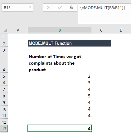 MODE.MULT Function - Example 1a