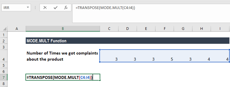 MODE.MULT Function - Example 2a