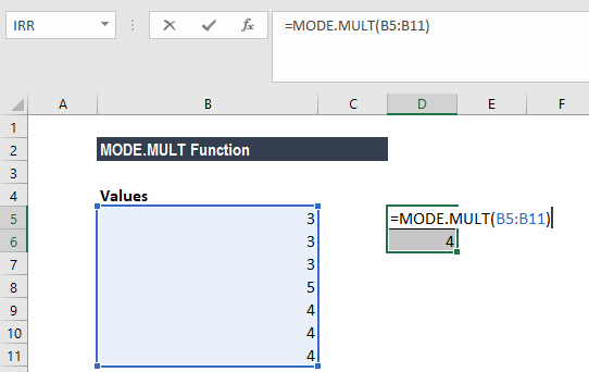 MODE.MULT Function - Example 3a