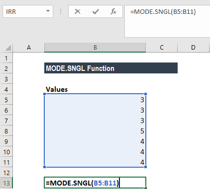 MODE.SNGL Function - Example 1