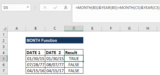 MONTH Function - Example 2b