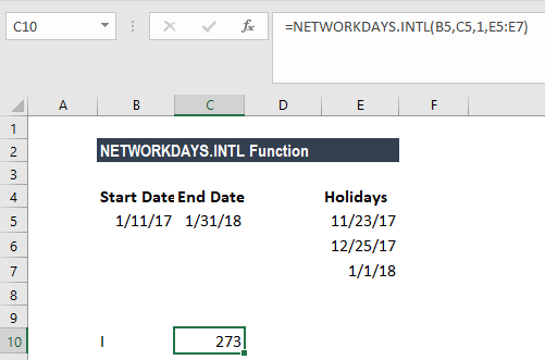 NETWORKDAYS.INTL Function - Example 1
