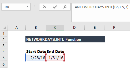 NETWORKDAYS.INTL Function - Example 2
