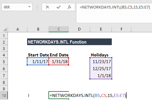 NETWORKDAYS.INTL Function - Example 3