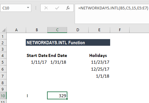 NETWORKDAYS.INTL Function - Example 3a