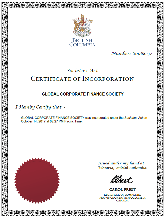 non-profit certificate of incorporation