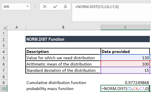NORM.DIST Function - Example 1a