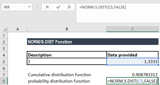 NORM.S.DIST Function - Example 1