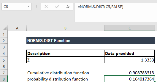 NORM.S.DIST Function - Example 1a