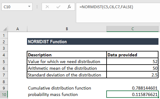 NORMDIST Function - Example 1b