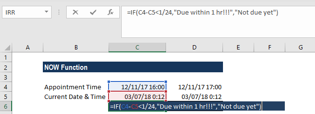 NOW Function - Example 2b
