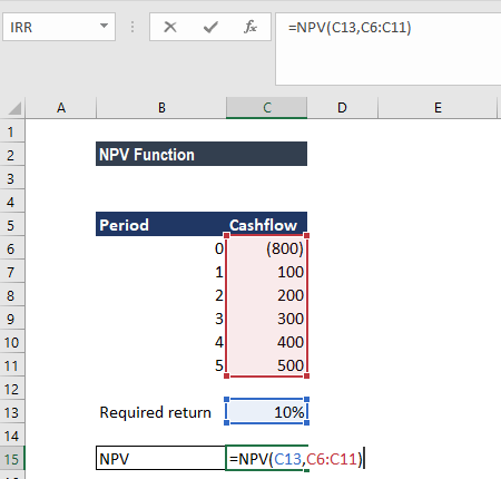 NPV Function - Example 1a