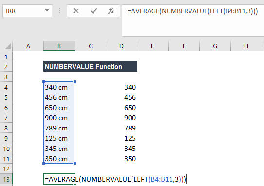NUMBERVALUE Function - Example 2b